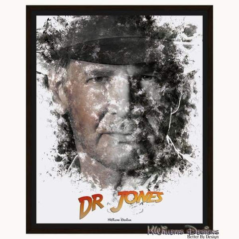 Image of Harrison Ford as Indiana Jones Ink Smudge Art Art Print - Framed Canvas Art Print / 16x20 inch