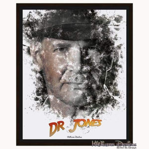 Harrison Ford as Indiana Jones Ink Smudge Art Art Print - Framed Canvas Art Print / 16x20 inch
