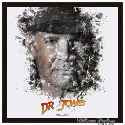 Image of Harrison Ford as Indiana Jones Ink Smudge Art Art Print - Framed Canvas Art Print / 24x24 inch