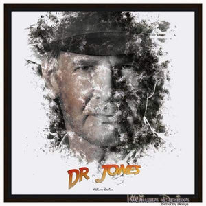 Harrison Ford as Indiana Jones Ink Smudge Art Art Print - Framed Canvas Art Print / 24x24 inch