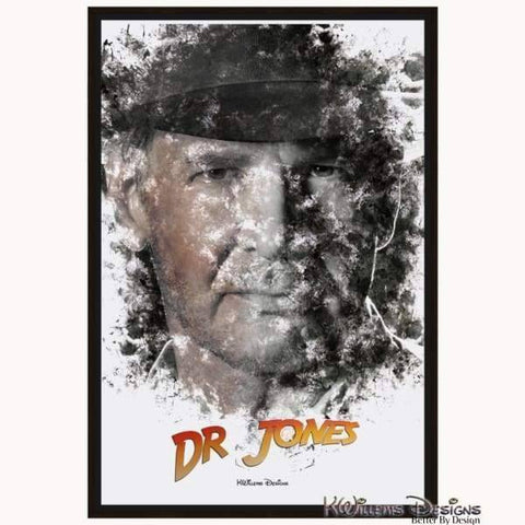 Image of Harrison Ford as Indiana Jones Ink Smudge Art Art Print - Framed Canvas Art Print / 24x36 inch