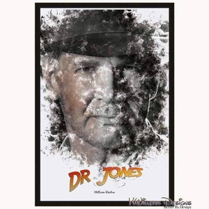 Harrison Ford as Indiana Jones Ink Smudge Art Art Print - Framed Canvas Art Print / 24x36 inch