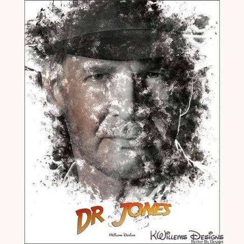 Image of Harrison Ford as Indiana Jones Ink Smudge Art Art Print - Giclee Art Print / 16x20 inch