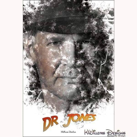 Image of Harrison Ford as Indiana Jones Ink Smudge Art Art Print - Giclee Art Print / 24x36 inch