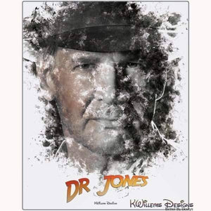 Harrison Ford as Indiana Jones Ink Smudge Art Art Print - Metal Art Print / 16x20 inch