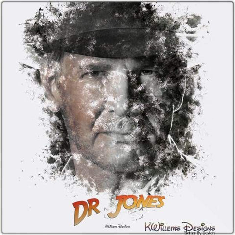 Image of Harrison Ford as Indiana Jones Ink Smudge Art Art Print - Metal Art Print / 24x24 inch