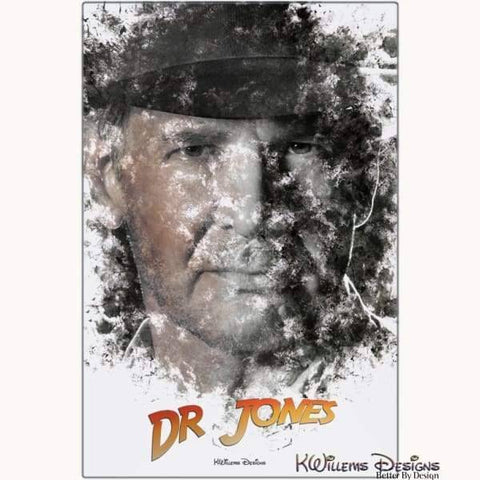 Image of Harrison Ford as Indiana Jones Ink Smudge Art Art Print - Metal Art Print / 24x36 inch