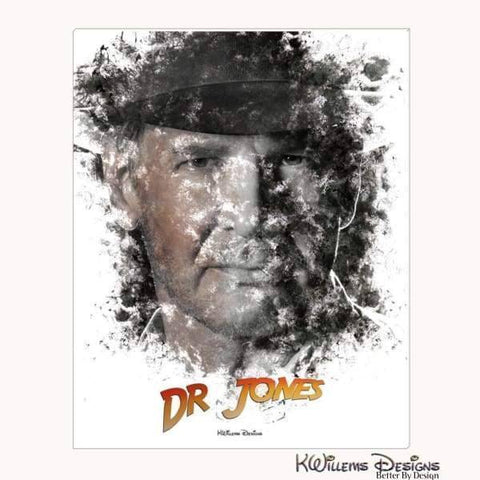 Image of Harrison Ford as Indiana Jones Ink Smudge Art Art Print - Wrapped Canvas Art Print / 16x20 inch