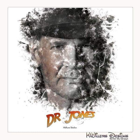 Image of Harrison Ford as Indiana Jones Ink Smudge Art Art Print - Wrapped Canvas Art Print / 24x24 inch