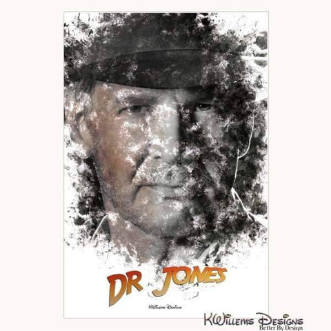 Image of Harrison Ford as Indiana Jones Ink Smudge Art Art Print - Wrapped Canvas Art Print / 24x36 inch