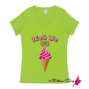Ice Cream Ladies V-Neck T-Shirts - Lime / Small (S)