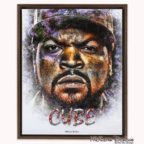 Ice Cube Ink Smudge Style Art Print - Framed Canvas Art Print / 16x20 inch