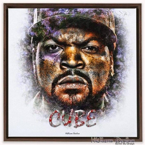 Ice Cube Ink Smudge Style Art Print - Framed Canvas Art Print / 24x24 inch