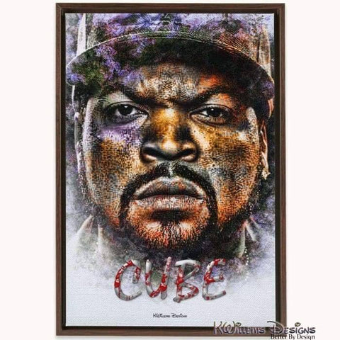 Ice Cube Ink Smudge Style Art Print - Framed Canvas Art Print / 24x36 inch