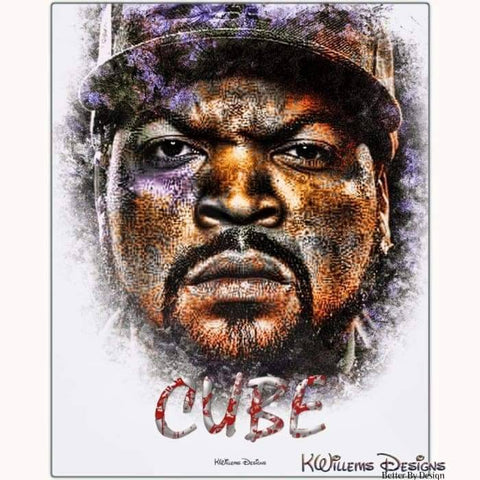 Image of Ice Cube Ink Smudge Style Art Print - Metal Art Print / 16x20 inch