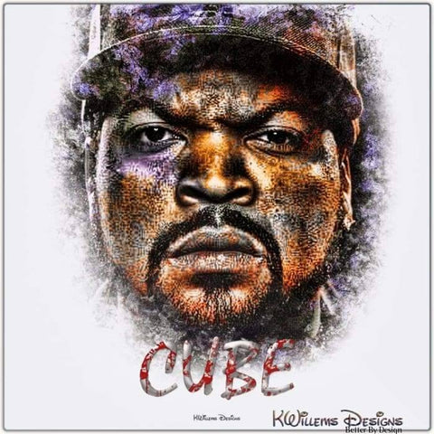 Image of Ice Cube Ink Smudge Style Art Print - Metal Art Print / 24x24 inch
