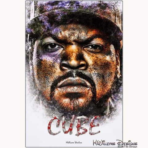 Ice Cube Ink Smudge Style Art Print - Metal Art Print / 24x36 inch