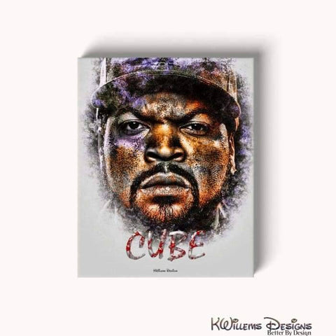 Image of Ice Cube Ink Smudge Style Art Print - Wrapped Canvas Art Print / 16x20 inch