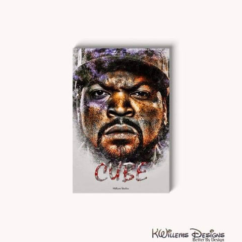 Image of Ice Cube Ink Smudge Style Art Print - Wrapped Canvas Art Print / 24x36 inch