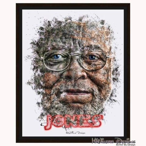 James Earl Jones Ink Smudge Style Art Print - Framed Canvas Art Print / 16x20 inch