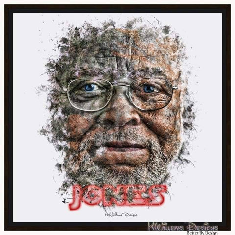James Earl Jones Ink Smudge Style Art Print - Framed Canvas Art Print / 24x24 inch