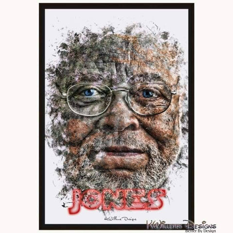 James Earl Jones Ink Smudge Style Art Print - Framed Canvas Art Print / 24x36 inch