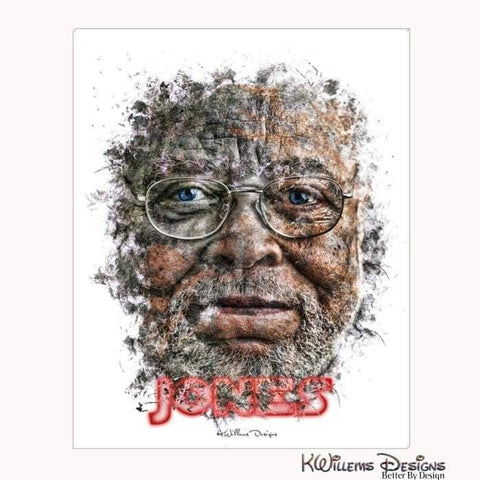 James Earl Jones Ink Smudge Style Art Print - Wrapped Canvas Art Print / 16x20 inch