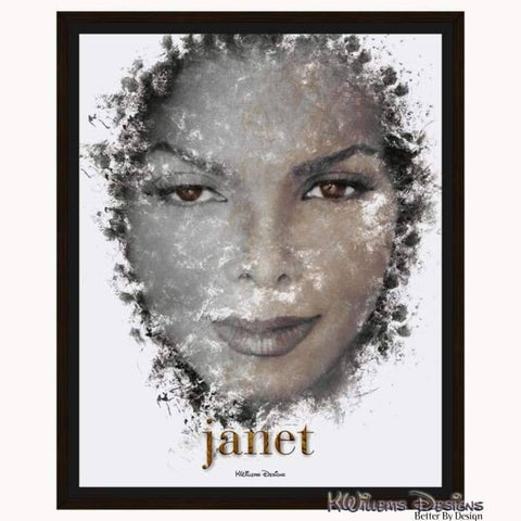 Image of Janet Jackson Ink Smudge Style Art Print - Framed Canvas Art Print / 16x20 inch