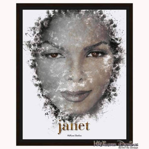 Janet Jackson Ink Smudge Style Art Print - Framed Canvas Art Print / 16x20 inch