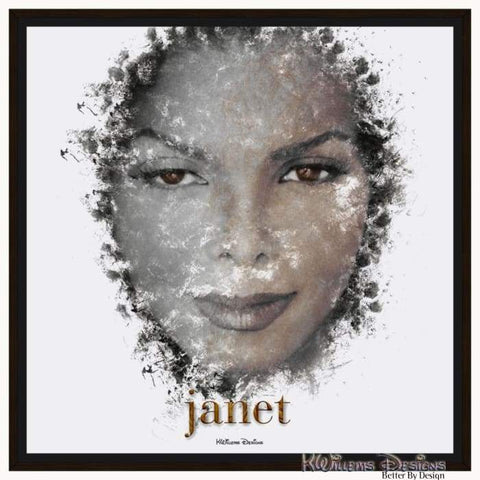 Janet Jackson Ink Smudge Style Art Print - Framed Canvas Art Print / 24x24 inch
