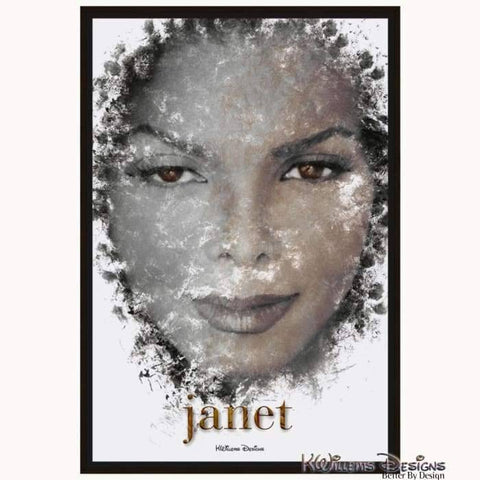 Image of Janet Jackson Ink Smudge Style Art Print - Framed Canvas Art Print / 24x36 inch
