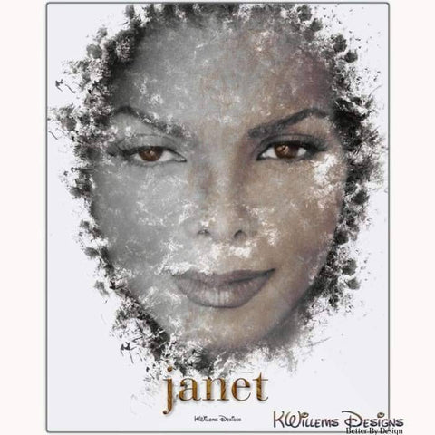 Janet Jackson Ink Smudge Style Art Print - Metal Art Print / 16x20 inch