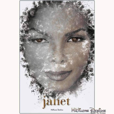 Janet Jackson Ink Smudge Style Art Print - Metal Art Print / 24x36 inch