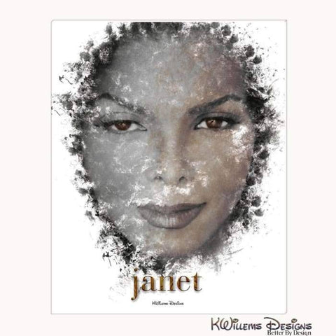 Image of Janet Jackson Ink Smudge Style Art Print - Wrapped Canvas Art Print / 16x20 inch