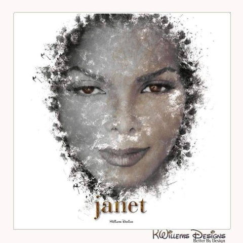 Janet Jackson Ink Smudge Style Art Print - Wrapped Canvas Art Print / 24x24 inch