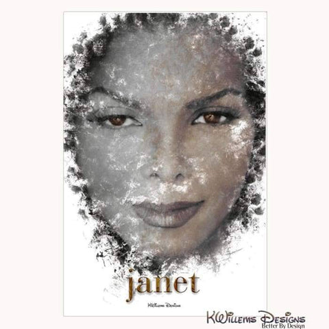 Image of Janet Jackson Ink Smudge Style Art Print - Wrapped Canvas Art Print / 24x36 inch