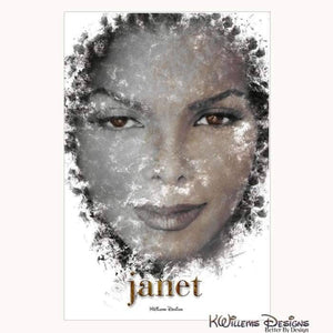 Janet Jackson Ink Smudge Style Art Print - Wrapped Canvas Art Print / 24x36 inch