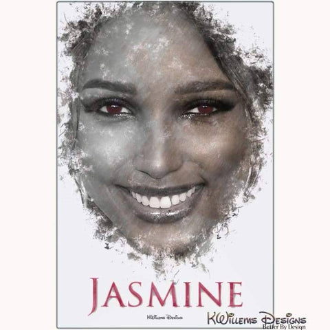 Jasmine Tookes Ink Smudge Style Art Print - Metal Art Print / 24x36 inch