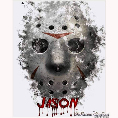 Image of Jason Voorhees Ink Smudge Style Art Print - Acrylic Art Print / 16x20 inch
