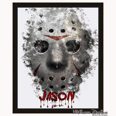 Image of Jason Voorhees Ink Smudge Style Art Print - Framed Canvas Art Print / 16x20 inch