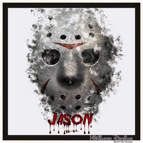 Image of Jason Voorhees Ink Smudge Style Art Print - Framed Canvas Art Print / 24x24 inch