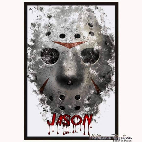 Image of Jason Voorhees Ink Smudge Style Art Print - Framed Canvas Art Print / 24x36 inch