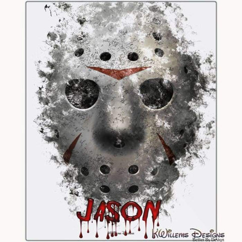 Image of Jason Voorhees Ink Smudge Style Art Print - Metal Art Print / 16x20 inch