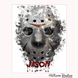 Jason Voorhees Ink Smudge Style Art Print - Wrapped Canvas Art Print / 16x20 inch