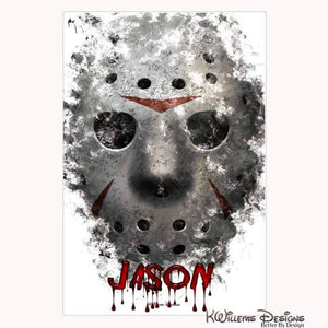 Jason Voorhees Ink Smudge Style Art Print - Wrapped Canvas Art Print / 24x36 inch