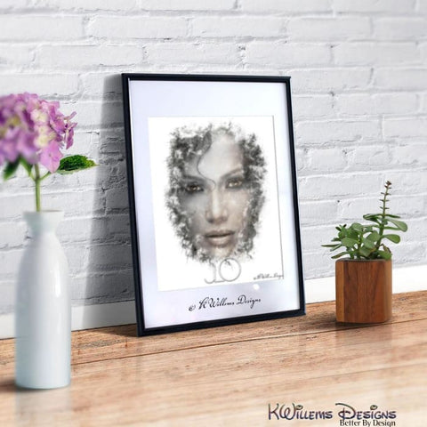 Jennifer Lopez Ink Smudge Style Art Print