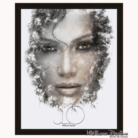 Jennifer Lopez Ink Smudge Style Art Print - Framed Canvas Art Print / 16x20 inch