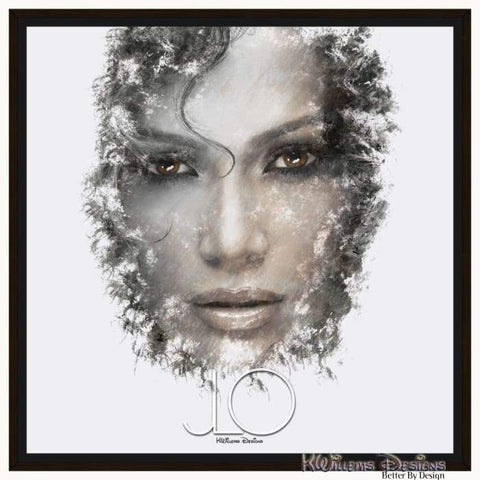 Jennifer Lopez Ink Smudge Style Art Print - Framed Canvas Art Print / 24x24 inch