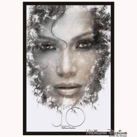 Jennifer Lopez Ink Smudge Style Art Print - Framed Canvas Art Print / 24x36 inch