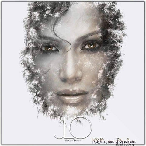 Image of Jennifer Lopez Ink Smudge Style Art Print - Metal Art Print / 24x24 inch
